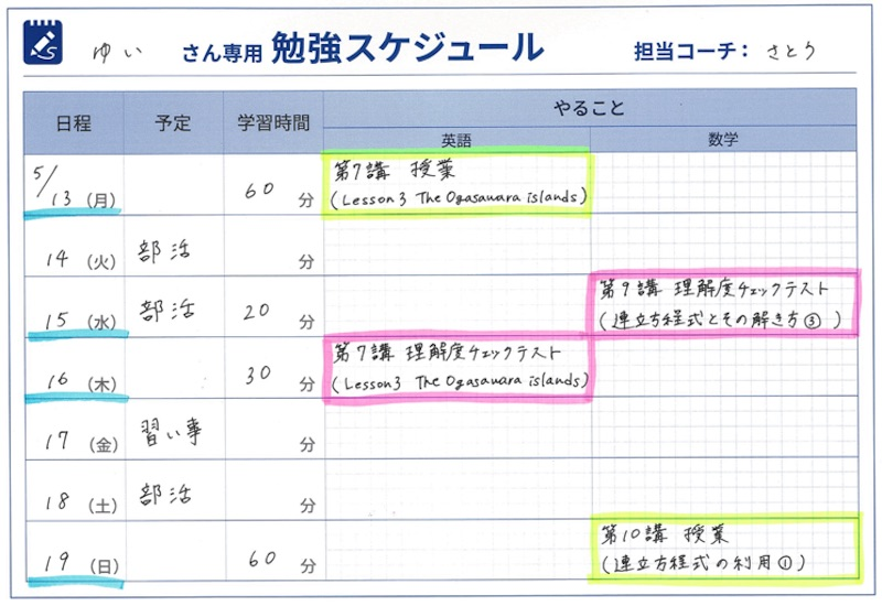 スタディサプリ個別指導コースの勉強スケジュール(例)